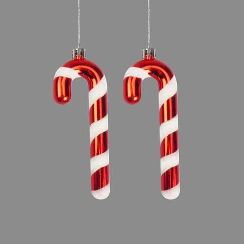 Davies Products Candy Cane Baubles Pack 2 - 12cm