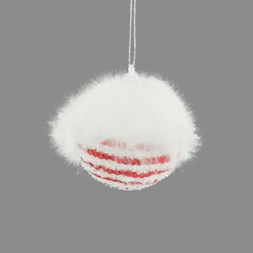 Davies Products Candy Cane Sequin Fur Bauble - 8cm