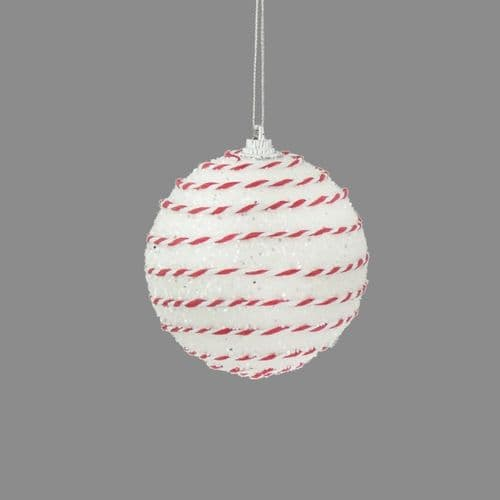 Davies Products Candy String Glitter Bauble - 8cm White