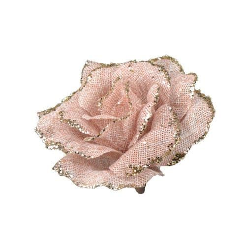 Davies Products Clip-On Jute Rose - 12cm Pink & Champagne