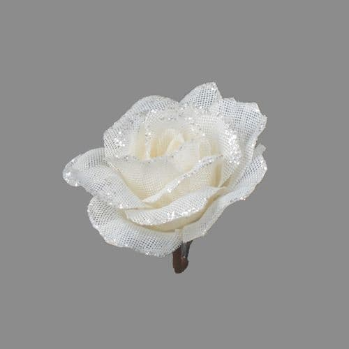 Davies Products Clip-On Jute Rose - 12cm White