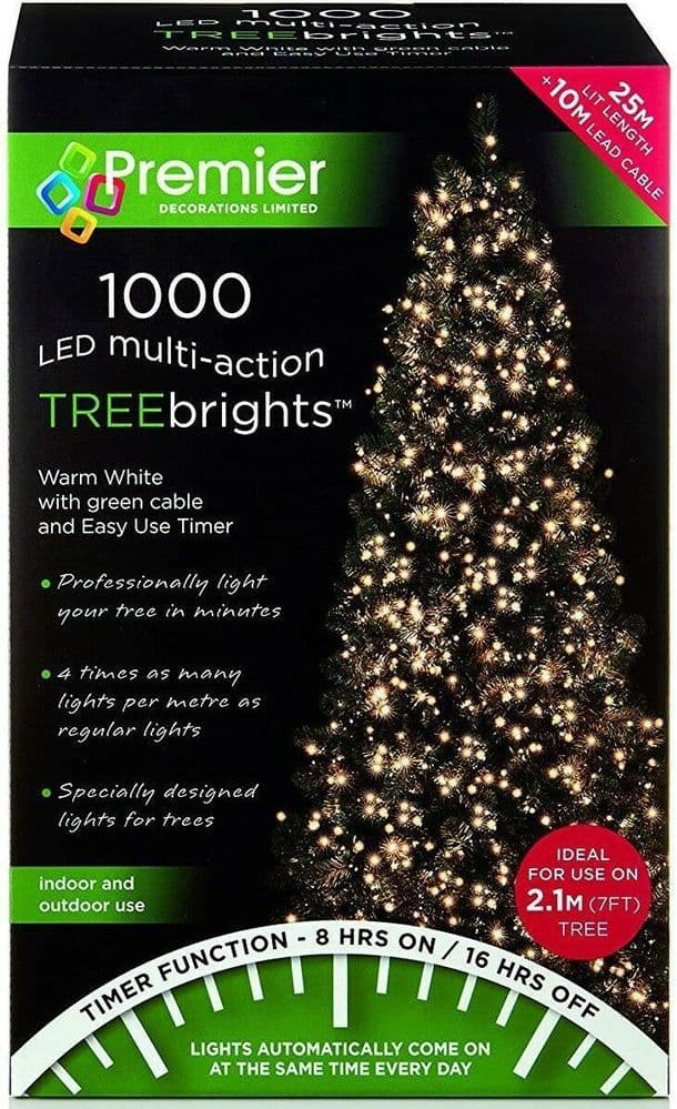 Premier 1000 LED Multi-Action TREEbrights Christmas Tree Lights with Timer - WARM WHITE